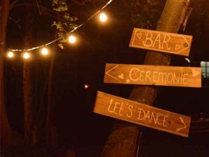 Bruiloft bij wohali, de richting pijlen wijzen de weg